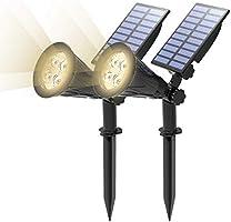 T-SUN (Upgraded 250 Lumens) 2 Stück LED Solarleuchten, 2-in-1 Wasserdicht Drahtlos Solarbetriebene Gartenleuchten für...