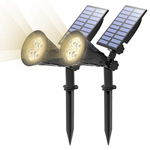 T-SUN (Upgraded 250 Lumens) 2 Stück LED Solarleuchten, 2-in-1 Wasserdicht Drahtlos Solarbetriebene Gartenleuchten für Hof, Wand, Garten, Rasen, Wege, Auffahrt, Terrasse (4000K)