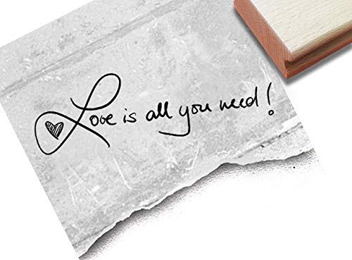 Stempel -Textstempel Love is All You Need! Handschrift- Schriftstempel Valentinstag Glückwünsche zur Hochzeit, Karten Gastgeschenke Deko- zAcheR-fineT