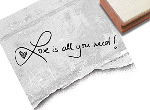 Stempel -Textstempel Love is All You Need! Handschrift- Schriftstempel Valentinstag Glückwünsche zur Hochzeit, Karten Gastgeschenke Deko- zAcheR-fineT