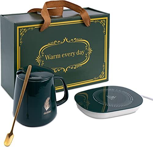 USB Tassenwärmer elektrisch | Kaffee Geschenkset bestehend aus Wärmeplatte und Kaffeebecher | Beheizbare Tasse mit Getränkewärmer | Mug Warmer | Tee Warmhalter Pad | Kaffeewärmer | Teewärmer