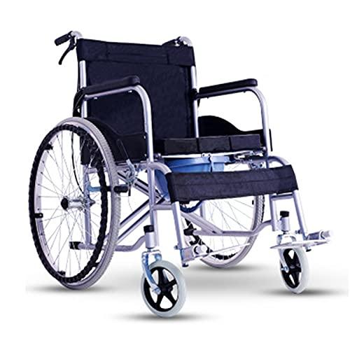 LGW Silla de Ruedas Plegable portátil Scounta para sillas de Ruedas - Scooter portátil de Viaje Completo Semi-recostado Plegable con un Asiento cómodo para Viajar a los Ancianos fácil de Limpiar