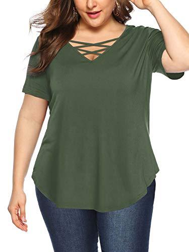 Amoretu Womens Plus Size Short Sleeve Summer T Shirt Criss Cross Tops(Green,4XL)