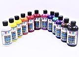 Südor Juego de pinturas acrílicas (12 x 250 ml (3000 ml), de secado rápido, adecuado para acrílico, para pintar en madera, piedra, lienzo, vidrio, plástico y cartón.