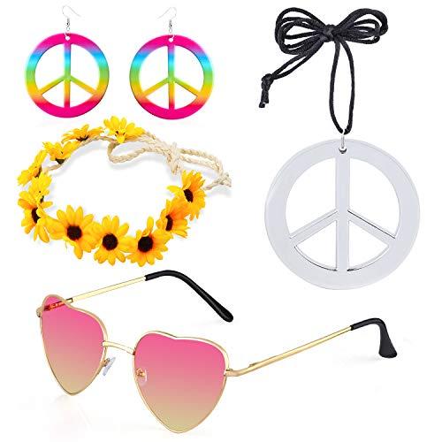 Beefunny 4 Stück Hippie Kostüm Dressing 60er Jahre Accessoires Set Friedenszeichen Halskette Blume Krone Stirnband Hippie Sonnenbrille und Ohrringe (B)