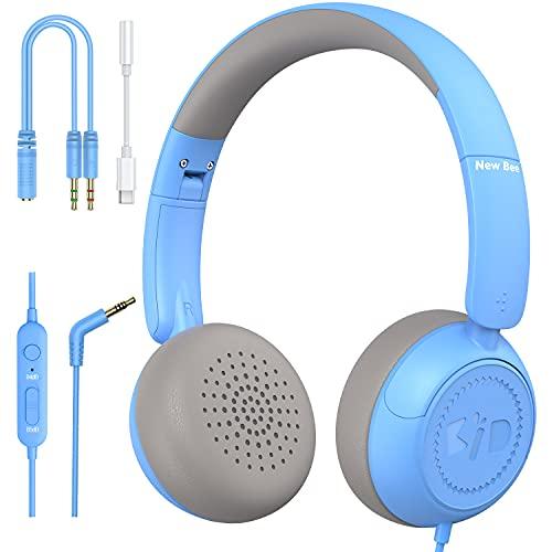 Auriculares infantiles con cable New Bee para aprender con micrófono para niños y niñas, con limitador de volumen de 85 dB 94 dB para Phone Pad PC portátil Tablet (azul)
