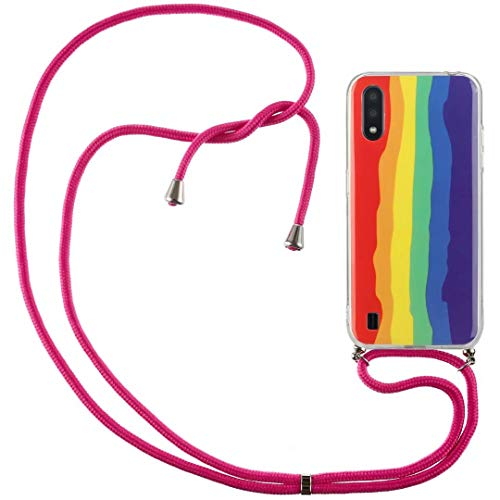 Crossbody Case for Xiaomi Mi 10/Xiaomi Mi 10 Pro with Adjustable Lanyard Cord Detachable Rope, Shockproof Rainbow Ultra Thin Clear Cover Soft Lanyard Flexible Gel TPU Bumper Protective Phone Case