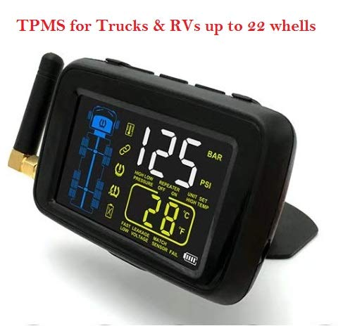 SYKIK-TPMS Real Time Tire Pressure Monitoring System for Cars, RVs and Trucks, up to 22 Wheels -Theft Sensors, with 3-Year US Warranty (10 Wheel)