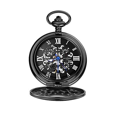 Lwieui Reloj de Bolsillo Reloj de Bolsillo Esqueleto mecánico Steampunk con Cadena como Regalo del día del Padre (Color : Black Shell)