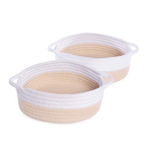 De almacenamiento de cuerda de algodón - Juego de 2 | Cesta de almacenamiento y organizador | Organizador de escritorio | Perfecto para artículos esenciales para el baño | M&W (Crema y Blanco)
