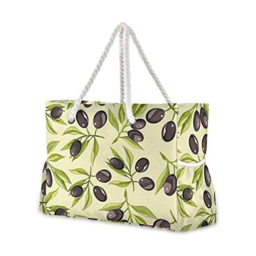 Mnsruu Bolsa grande para bolso de mano, bolsa de playa de viaje de oliva, asas de cuerda de algodón, bolsa de viaje para mujer