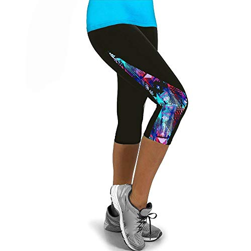 YEBIRAL Damen Sport-Leggings 3/4 Länge Bunte Sporthose Stretch Workout Fitness Jogginghose Trainingshose Yogahosen(S,Mehrfarbig)