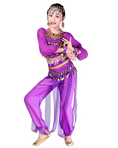 Grouptap Bollywood Indio niños niñas bharatanatyam Manga Larga Danza del Vientre 2 Piezas Azul/Rosa/púrpura kuchipudi niños Disfraces Disfraz