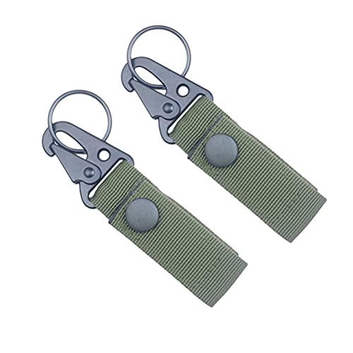 ABOOFAN 2 piezas al aire libre multifuncional práctico mosquetón nylon alpinismo hebilla creativo llavero suministros de camping (verde)