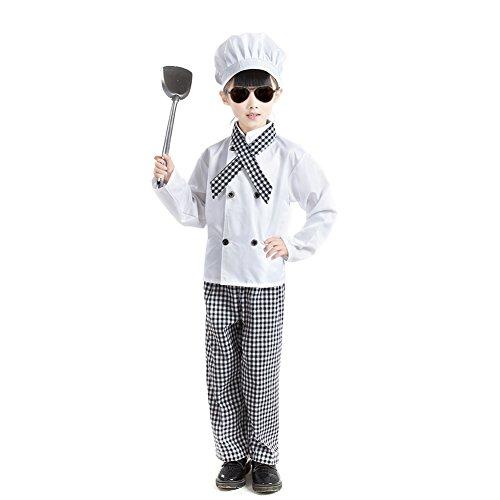 TopTie Chaqueta de Chef Manga Larga Blanco, Bufanda, Sombrero y Pantalones set-girl-10/12