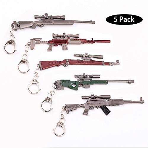 5X Arma Guns Pistola 3D Modelo Llavero de Metal, TLongitud Unos 12cm, Regalo Accesorios Cosas Objetos para Niños Hombre Juego Fans, PUBG Modelo de Rifle Francotirador [M24 SKS Kar98k AWM MK14]