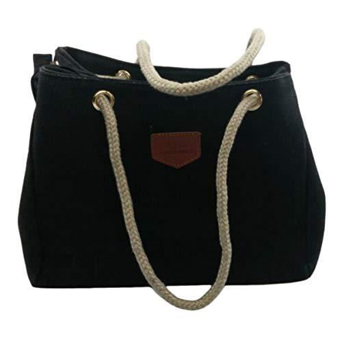 Damen-Schultertasche aus Hanfstoff, lässig, mit Kordelriemen, strapazierfähig, Schwarz