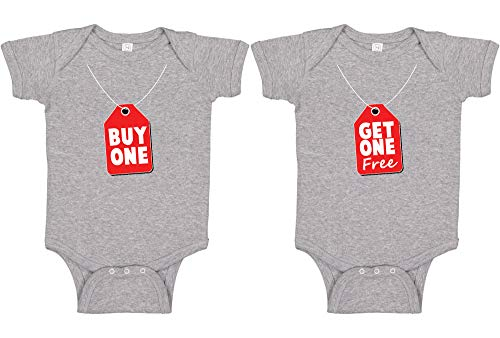 Panoware Funny Twins Baby Gift Bodysuit   Buy One Get One, Heather Grey, 0-3 Months