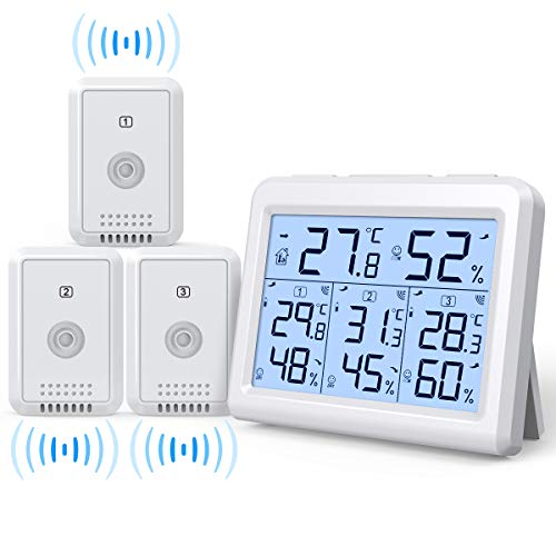 AMIR (Upgraded) Indoor Outdoor Thermometer, 3 Channels Digital Hygrometer Thermometer with 3 Sensor, Humidity Monitor Wireless with LCD Display, Humidity Gauge for Home, Office, Baby Room