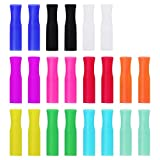 22Pcs Reusable Straws Tips, Silicone Straw Tips, Multi-color Food Grade Straws Tips Covers Only Fit for 1/4 Inch Wide(6MM Out diameter) Stainless Steel Straws by Accmor