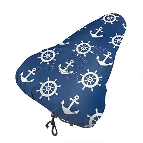 Enoqunt Navy Anchor Sattelabdeckung wasserdichte, staubdichte Sattelabdeckung Fahrradsitzabdeckung, schützende wasserfeste Fahrradsattelabdeckung.