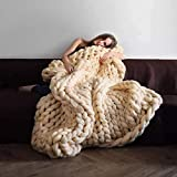 """QIQIDONG Chunky Knit Blanket Throws Super Soft Wool Blanket for Sofa Cozy Throw Blankets for Couch Casual Handwoven Heavy Blanket for Bed Chair Home Decor (Milk White, 47""""'X71)"""
