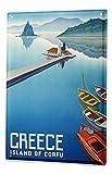 LEotiE SINCE 2004 Plaque en Métal Métallique Poster Mural tin Sign 40x30 cm Agence Voyage Vacances Île de Corfou en Grèce