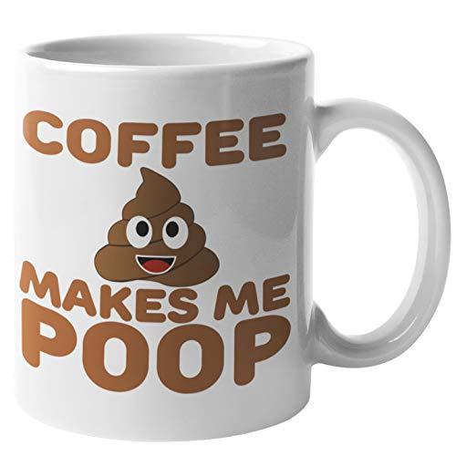 Find Funny Gift Ideas Poop Emoji-Kaffeetasse, Motiv: Kackhaufen, Emoji-Tasse – Coffee Makes Me Poop Emoji Stuff Items Things – Toilettenbecher, Neuheit Poop Happens Tasse