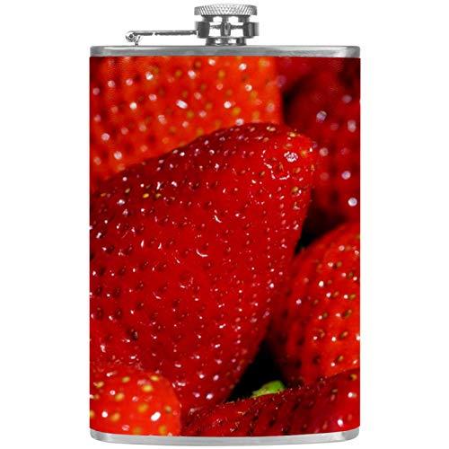 Petacas de Alcohol Fresas Rojas Grandes Petaca 227ml Acero Inoxidable para Whisky Vodka Alcohol líquido con embudos para Hombres y Mujeres 9.2x15cm