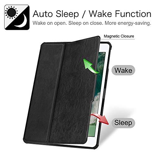 Fintie Hülle für iPad 9.7 2018 2017 / iPad Air 2 / iPad Air - [Eckenschutz] Robustes Soft TPU Rückseite Gehäuse für unterschiedliche Betrachtungswinkel mit Auto Sleep/Wake, Schwarz