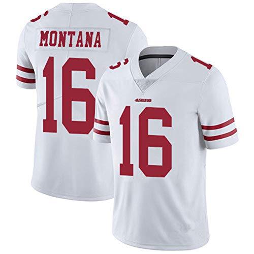 Francisco 49ers 16# Montana Rugby-Trikots, bestickte Kleidung Fußball-Sportbekleidung Kurzarm-Polyester Atmungsaktives Sport-Kurzarm-T-Shirt mit V-Ausschnitt-White1-S