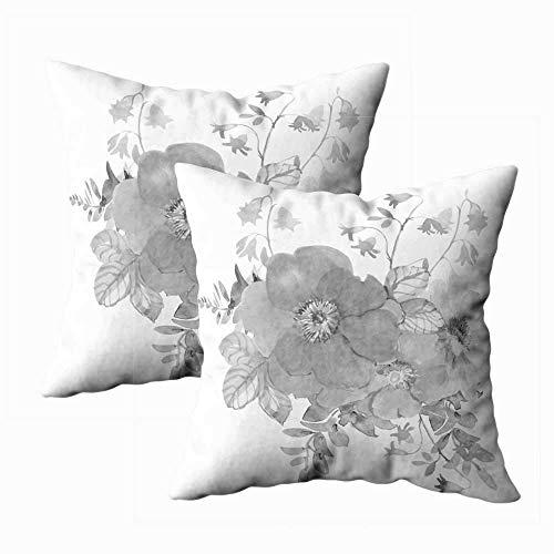 Juego de 2 fundas de almohada para exteriores, 45,7 x 45,7 cm, con diseño de peonía, color botánico, negro, blanco, monocromático, decoración del hogar, fundas de almohada con cremallera para sofá