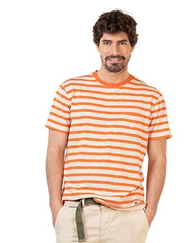 El Ganso Camiseta Crudo Rayas Naranja