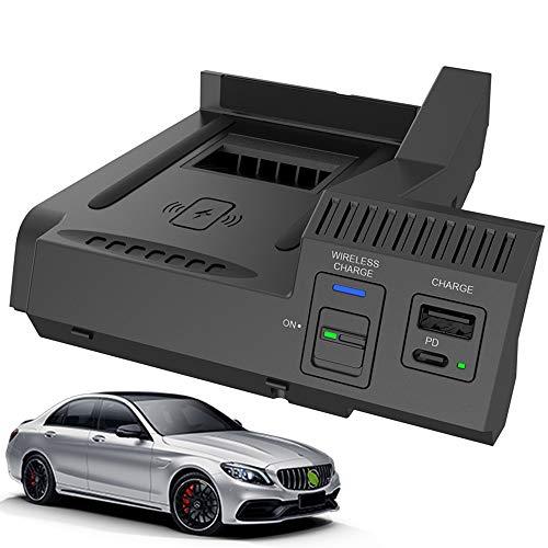 Braveking1 2021 Nuevo Cargador Inalámbrico Coche Auto para Mercedes-Benz C-Class GLC AMG 2015-2021 Consola Central Panel, 15W Qi Carga Rápida Teléfono Cargador con USB y 18W PD para iPhone Samsung