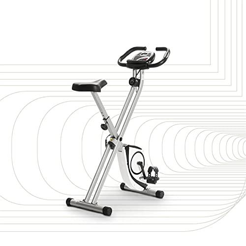 SportPlus Heimtrainer klappbar - X-Bike mit 8 Widerstandsstufen (Magnetbremssystem), mit Tablethalterung & Pulsmessung, bequemer Sattel, sichere Pedale & einfach faltbar, SP-HT-1002