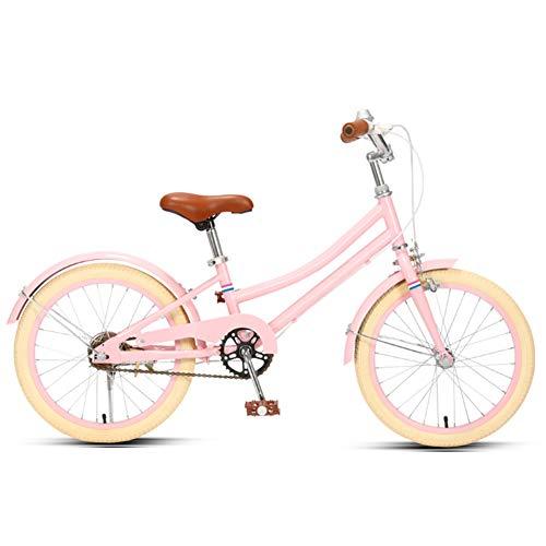 Kinderrad Junge Mädchen Prinzessin Retro-Stil Rosa 18 20 Zoll Verstellbarer Sitz Verschleißfeste Räder 95% Installation Kinderfahrrad(Size:18in,Color:Rosa)