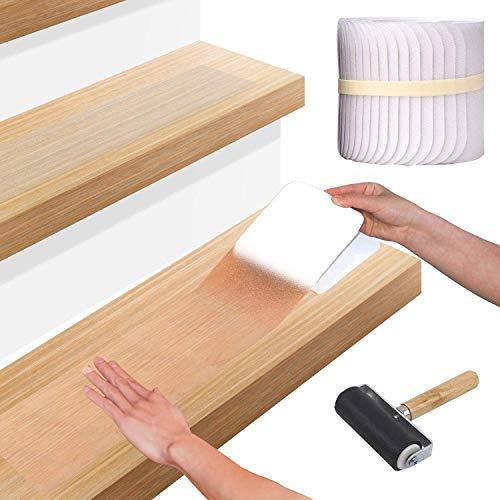 """AWKAQUN 4""""x24 Antirutschstreifen Treppe Set (15er Pack) - Clear Anti-Slip-Selbstklebende stufenmatten Treppenstufen Matten, Anti rutsch Streifen, Treppe Anti-Rutsch-Aufkleber,10cm x 61cm"""