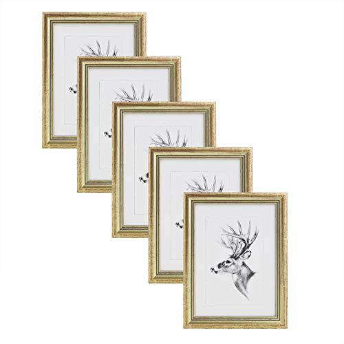 WOLTU Cadre Photo Lot de 5 Artos Style 20x30cm Cadre en Bois et Verre décoration Maison Or 9435-5