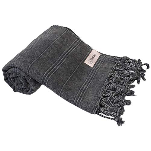 Bersuse 100% Cotton Troy Stonewashed Handloom Turkish Towel-33X70 Inches, Black