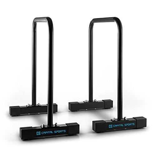 Capital Sports Alongs Parallettes Core Trainer Fitness (Equalizer, Stahlrohrgestell, Griffpolster, Tragfähigkeit 180 kg, platzssparend) schwarz