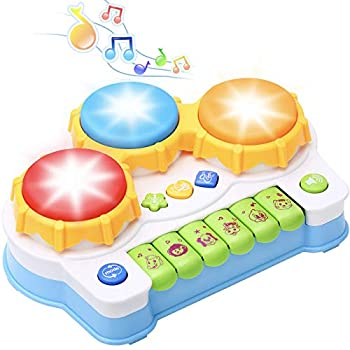 KingsDragon Baby Musical Keyboard Piano Drum Set 6-12 Months Learning Light up Toy Early Educational Montessori Toys for Babies Toddler Boys Girls 1-2 Year Old Birthday