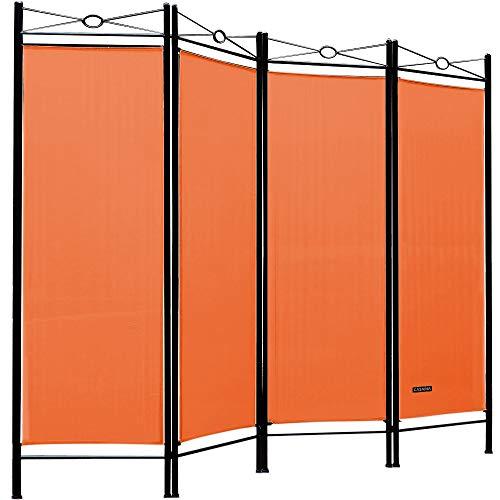 Deuba Paravent Lucca 180x163 cm Raumteiler Verstellbar 4 TLG Trennwand Spanische Wand Raumtrenner Sichtschutz - Orange