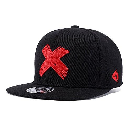Gorra Hip Hop Negro Ajustable Mujeres Hombres Sombreros Primavera Verano Gorra de Béisbol X Bordado