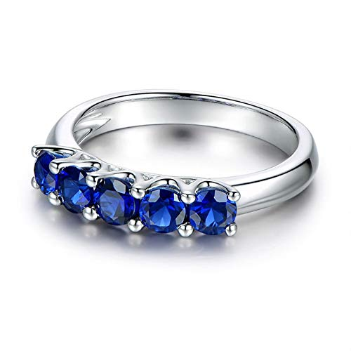 AueDsa Sterling Silver Ring for Women 925,Wedding Band Blue Sapphire Round 4X4MM Sapphire Blue Ring Size R 1/2