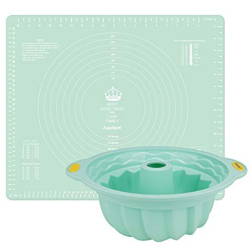 Aschef - Set di 2 stampi per dolci in silicone, antiaderenti, con telaio in acciaio inox rinforzato all'interno, senza BPA, lavabili in lavastoviglie e utilizzabili nel forno a microonde