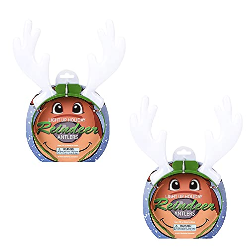 The Dreidel Company Light-Up Holiday Reindeer Antlers, Costume Accessory, Party Favor for Kids and Adults, 10' (2-Pack)