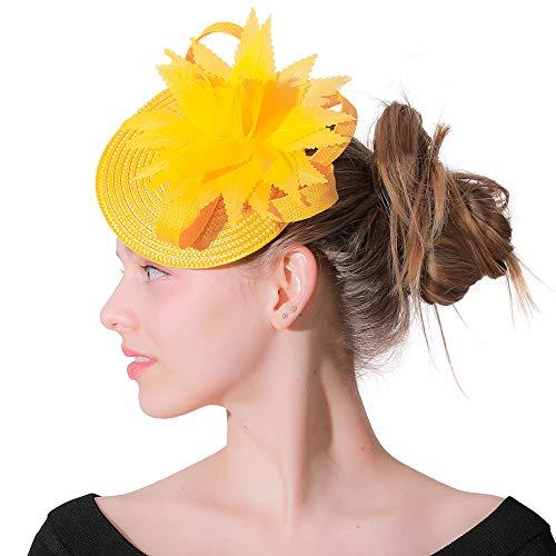 Plumas de color amarillo Pillbox Hat Banquete Tocado Fascinator Church Kentucky Derby Hat para el vestido de boda Partido Mujeres Accesorios para el cabello