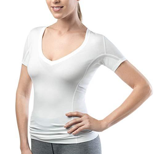 laulas Camiseta interior funcional ligera para mujer, sin manchas de sudor, con tejido de rizo absorbente integrado, sin manchas de sudor. Blanco M