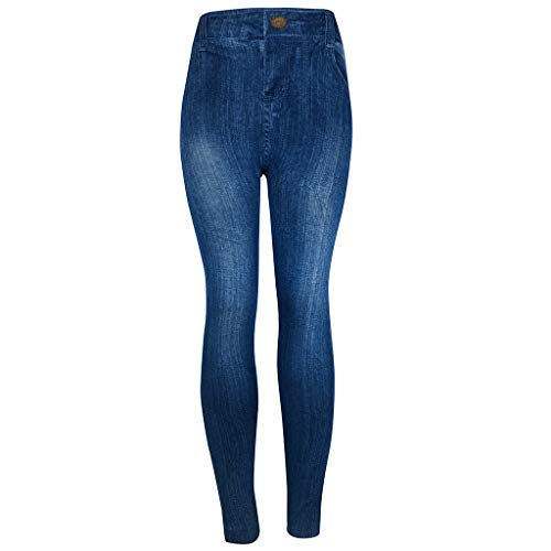 Jiayit Pants Clearance High Rise Pull-On Stretch Skinny Jeans Womens Jeggings Imitation Seamless Denim Leggings Blue