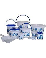 Aarohi13 Modwell Plastic Bath Set (Blue) -10 Pieces